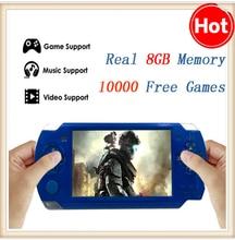El envío libre de mano consola de juegos reproductor mp4 pantalla de 4.3 pulgadas mp5 jugador del juego real 8 gb soporte para psp del juego, cámara, vídeo, e-libro(China (Mainland))
