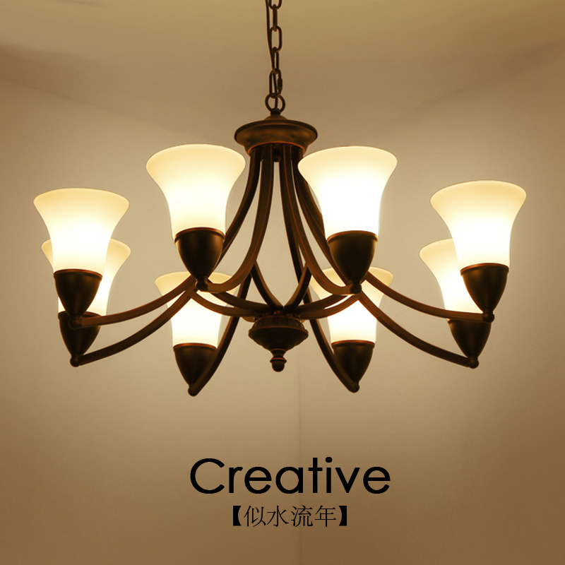 North European and American style living room chandelier bedroom restaurant personality simple modern iron art 3 head 6 atmospheNorth European and American style living room chandelier bedroom restaurant personality simple modern iron art 3 head 6 atmosphe