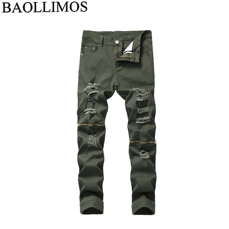 Men Stylish Ripped Jeans Pants Biker Slim Straight Hip Hop Frayed Denim Trousers New Fashion Skinny Jeans 2019 Men