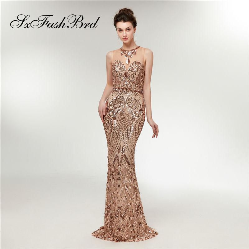 O Neck Mermaid Elegant   Dress   Sequined Pattern Appliques Tulle Long Formal   Evening     Dresses   for Women Party Prom Robe Longue