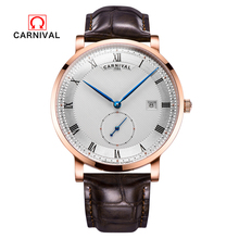 Carnival Watch Men Switzerland luxury brand Reloj Hombre Leather Strap Mechanical Watches Clock Waterproof Calendar Wristwatch carnival brand men wristwatches fashion luxury leather strap watch unique design style waterproof multifunction relogio reloj