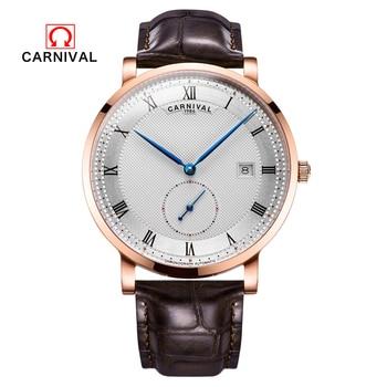 Reloj de Carnaval para Hombre, Reloj de pulsera con correa de cuero para Hombre de lujo de Suiza, Reloj de pulsera con calendario a prueba de agua