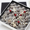 2015 New   Fashion Simulated Pearl Jewelry Women  Multi-layer Necklaces   Long Flower Necklace  X056