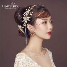 Himstory Handmade Vintage Wedding Hairband Pearl Crystal Long Tassel Headband Hair Accessories Bridal Headpiece Jewelry