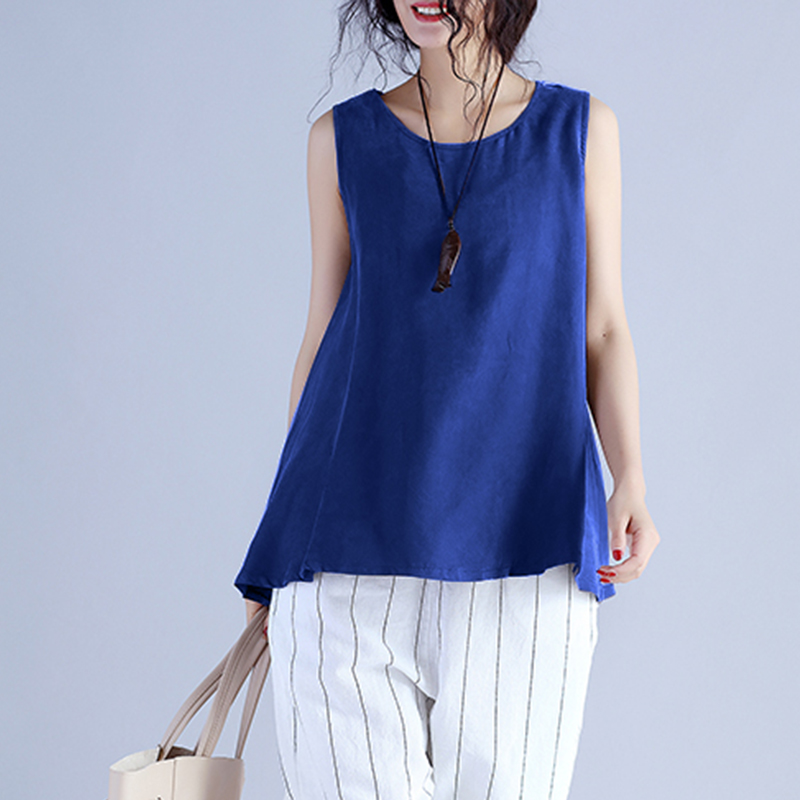 Plus Size 2018 ZANZEA Summer Women O Neck Sleeveless Beach Party Vest Blouse Casual Baggy Solid Tank Tops Loose Basic Work Shirt 1