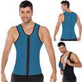 Homens Ultra Suor Camisas Do Músculo Com Zíper Roupas de Fitness Shapewear Shapers Do Corpo Plus Size XS-5XL