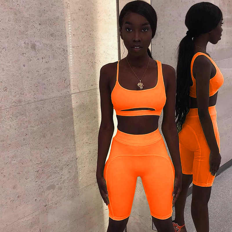 New summer 2 piece set women sexy strapless hollow out crop top elastic skinny shorts tracksuit two piece set
