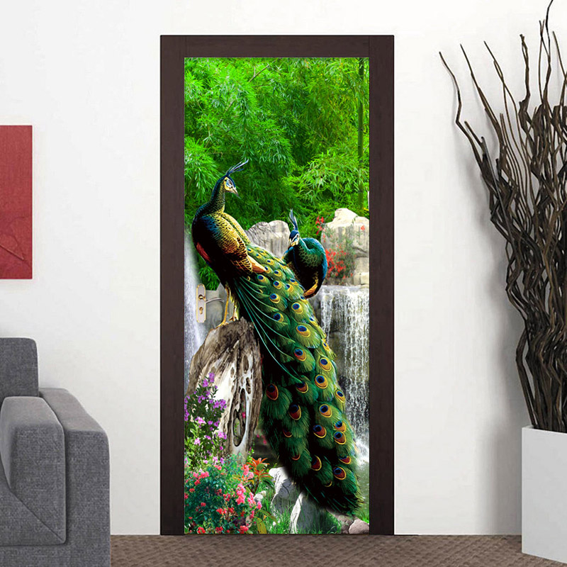 Modern Peacock Nature Landscape Murals Wallpaper 3D Living Room Bedroom Home Decor Door Sticker PVC Waterproof Wall Papers Roll sea view new diy door mural wallpaper sticker modern simple bedroom living room door 3d poster murals pvc waterproof home decor