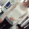 [soonyour] 2017 Spring Fashion New O-Neck Solid Color Small Camisole+Perspective loose Long Sleeve Chiffon T-Shirt Woman Y06600
