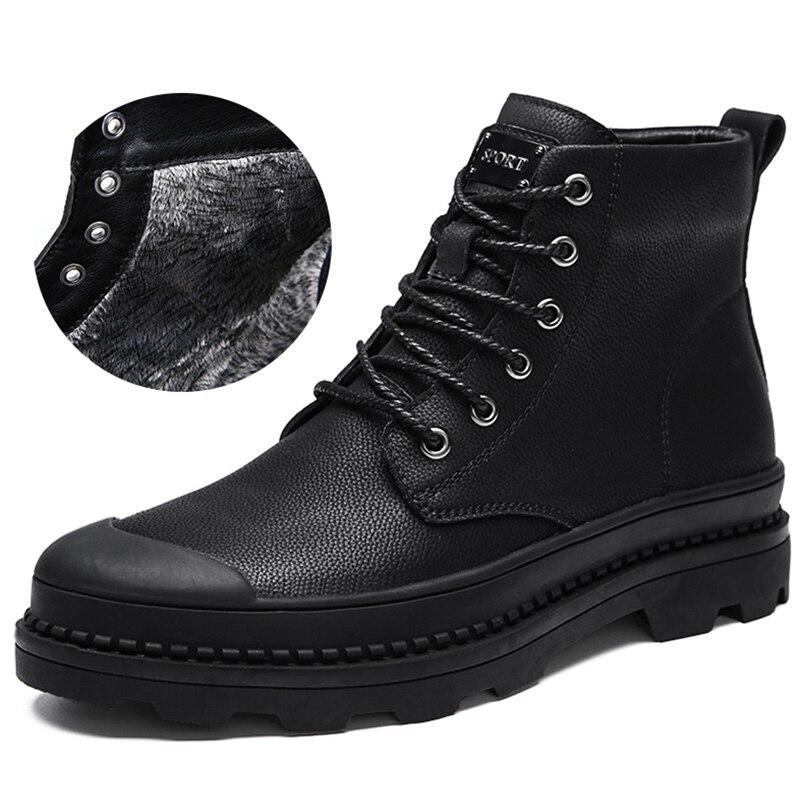BOLE Large Size 38-47 Men Plus Fur Warm Leather Shoes High-top Lace Up Men Casual Shoes Thick Sole Platform Waterproof Shoes недорго, оригинальная цена