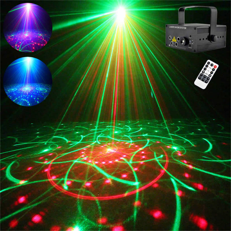AUCD Mini Remote 5 Lens 80 Patterns RGRB Laser Blue LED Stage Lighting DJ Bar Show Xmas Home Professional Party Light Z80RGRB hp c4815a