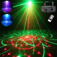 IR Remote 5 Lens 80 Patterns RGRB Laser BLUE LED Stage Lighting DJ Bar Show Light