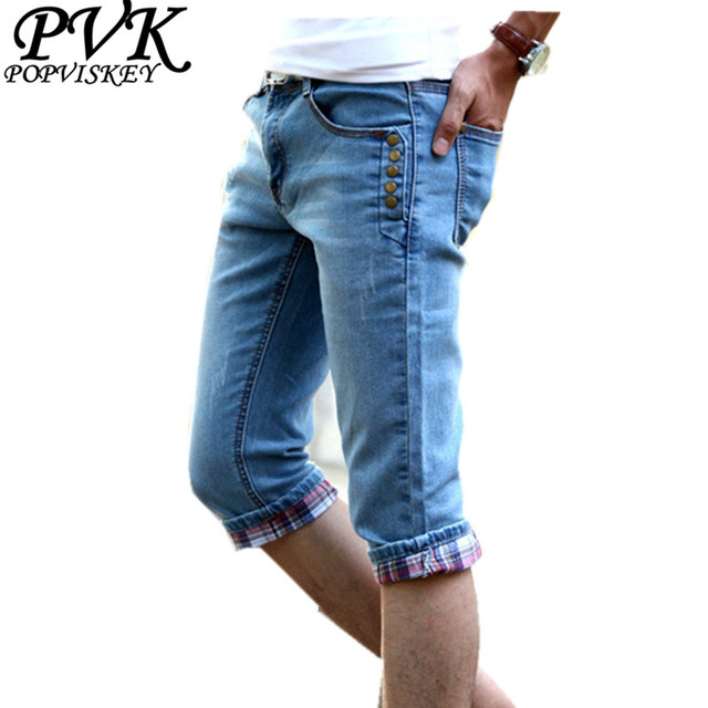 2016 fashion men's jeans of slim cotton blend short denim pant for man male casual calf-length pants free shipping plus size