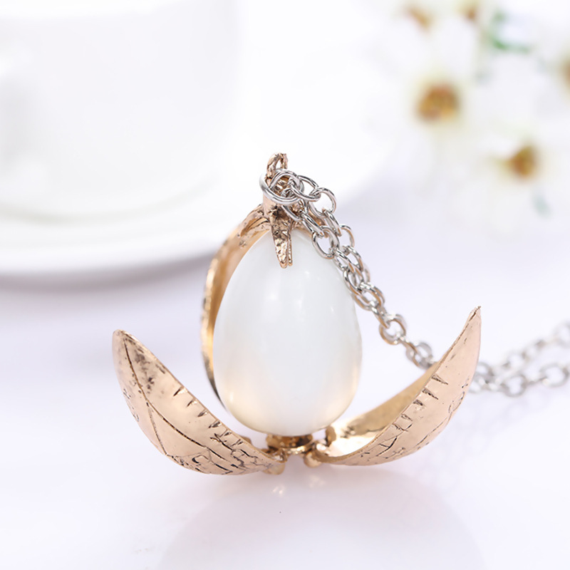 Harri Potter Fire Dragon Egg Necklace Goblet Of Fire Rotation Activity Magic Toys Open Style Retro Vintage Necklace Action toys