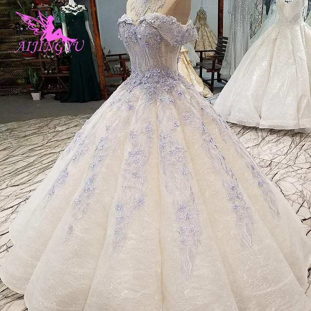 AIJINGYU خمر زي العرائس حديقة ثوب الكمال المشاركة ريفي Frocks وفساتين جذّاب مزين بالترتر فستان أبيض بسيط