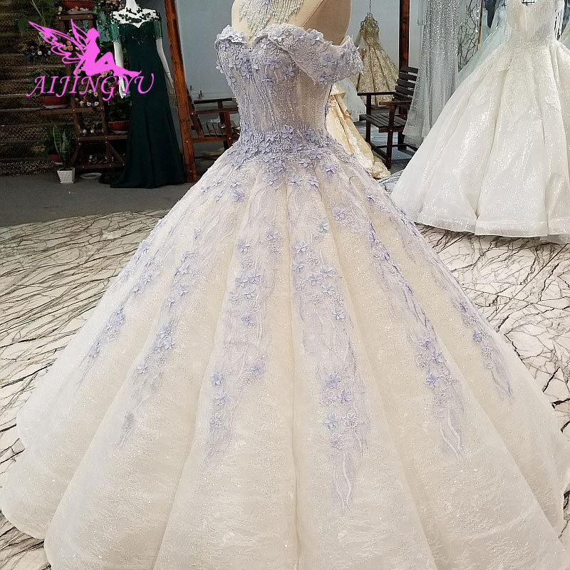 AIJINGYU Vintage Bridal Gowns Garden Gown Perfect 2019 Rustic Frocks and Sexy Sequin Dresses Simple White Dress