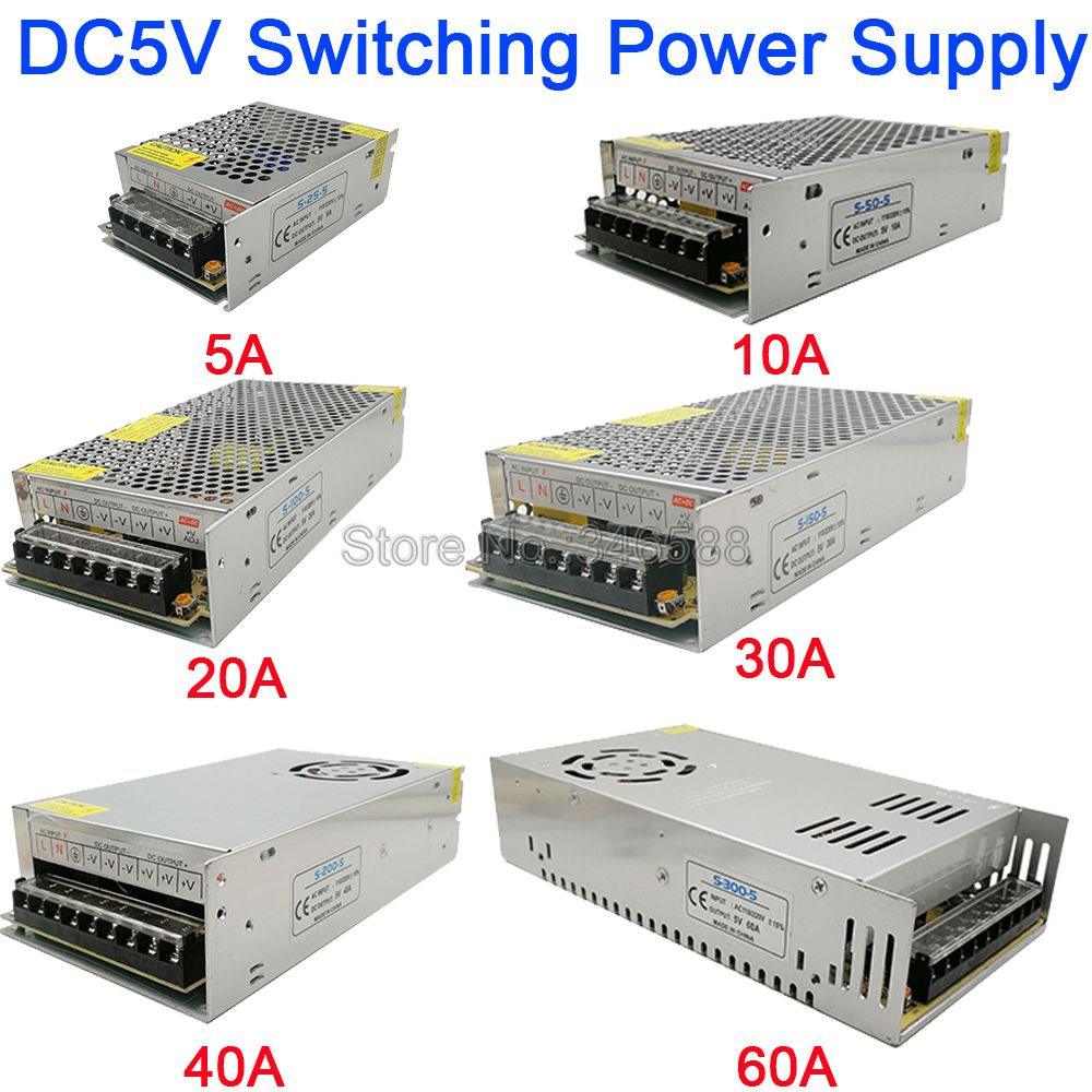 5V Regulated Switching Power Supply 5A 10A 20A 30A 40A 60A AC110V / 220V to DC5V Power Supply Unit 5 Volt Power Driver5V Regulated Switching Power Supply 5A 10A 20A 30A 40A 60A AC110V / 220V to DC5V Power Supply Unit 5 Volt Power Driver