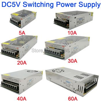 5V Regulated Switching Power Supply 5A 10A 20A 30A 40A 60A AC110V / 220V to DC5V Power Supply Unit 5 Volt Power Driver