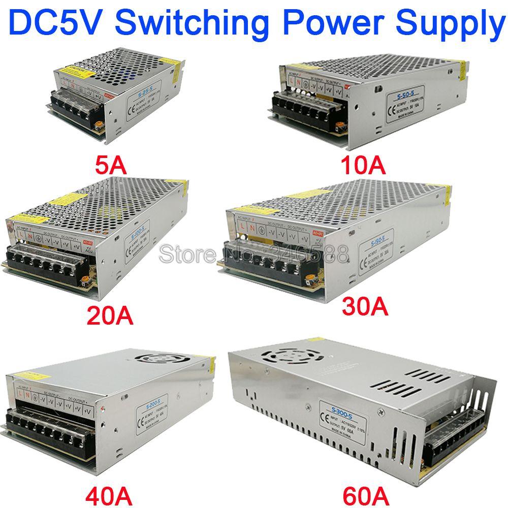 Alimentation à découpage régulée 5 V 5A 10A 20A 30A 40A 60A AC110V/220 V à DC5V alimentation 5 volts