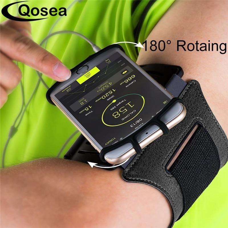 Qosea Courir Sport Brassards D'entraînement Universel Brassard Arm Band Case Direct Tactile Pour iPhone 7 Plus X Samsung S9 Huawei p20 Pro