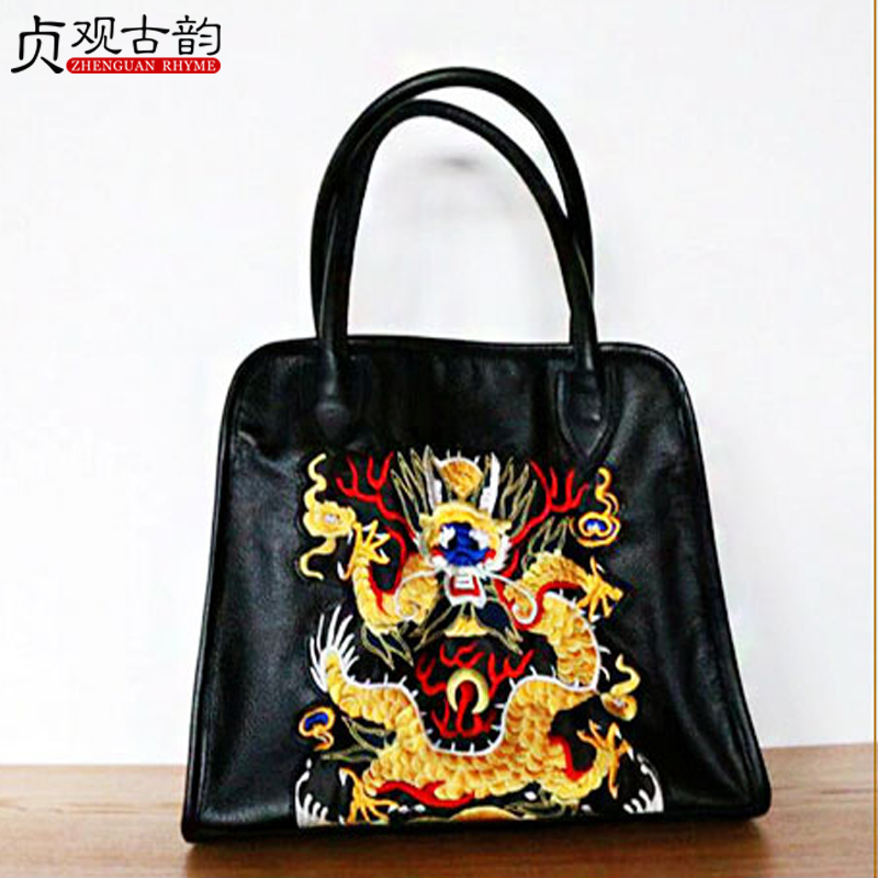 NoEnName 2018 Summer Women's Fashion Handbags Shoulder Bag Hot Sell Ethnic Style Flower Embroidery Soft Ladies Cowhide Bag noenname