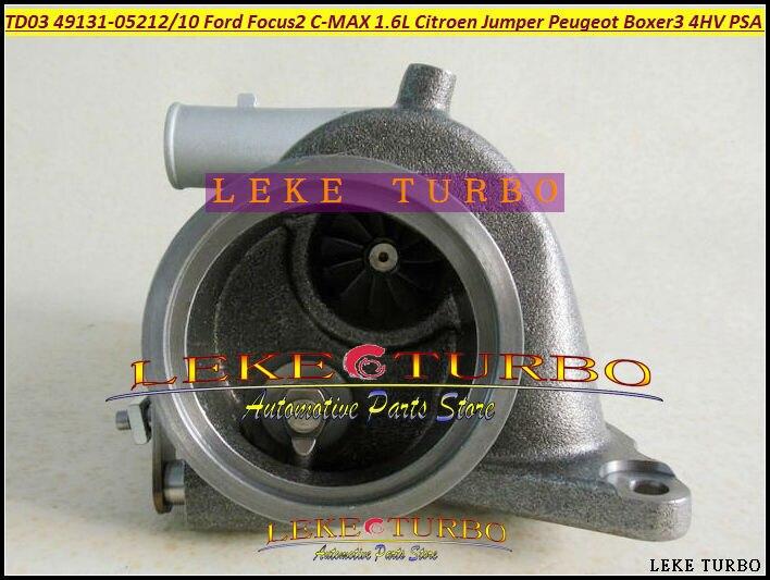 TD03 49131-05210 49131-05212 0375K7 6U3Q6K682AE Turbo Turbocharger For Ford Focus II C-MAX Fiesta VI 1.6L Citroen Jumper Peugeot Boxer III 4HV PSA 2.2L HDI- (4)