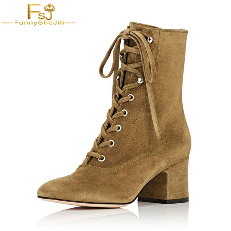 Ankle Boots Women Shoes Clay Brown Lace Up Square Heels Pointed Toe Suede Causal Woman Shoes Cross-tied Zip Size 11 US FSJ