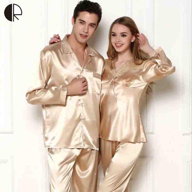 CR Nueva Llegada Del Verano de Las Mujeres y Los Hombres de Alta calidad de Seda AP256 Pareja Pijama ropa de Noche Del Envío Libre