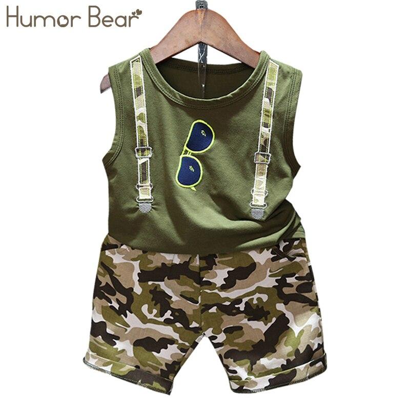 Humor Bear/комплекты летней одежды для маленьких мальчиков, комплект из 2 предметов, футболка без рукавов, костюмы для малышей, камуфляжные шорты...