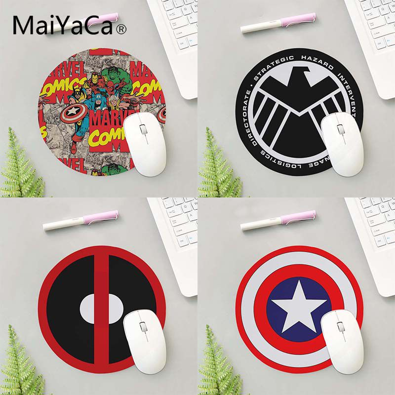 MaiYaCa Marvel Comics Captain America Shield Mouse Pad 200mm 2mm Mousepad Natural Rubber Mat Round Durable Desktop Mousepads