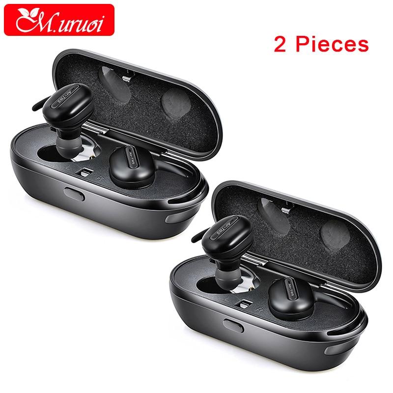 M.uruoi 1 Combo (2 pieces) TWS Earbuds Mini Bluetooth 4.2 Headset inear Earphones Wireless Headphones For Mobile Phone With Mic dacom tws bluetooth 4 2 earbuds in ear headphones with mic