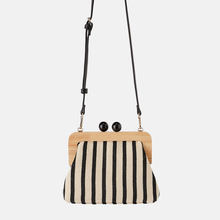 Striped Wooden Clip Bags for Women Canvas Bead Shoulder Bag Crossbody Bags Clutch Purse Handbags Women Famous Brands Bolsa Mujer(China)