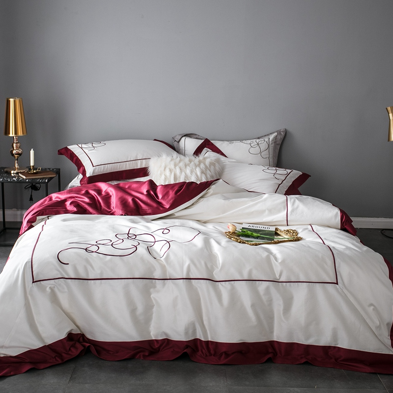 Home Textile  Bedding Sets embroidery Beddingset Bed Linen Duvet Cover Bed Sheet Pillowcase 100S egyptian cotton bed SetsHome Textile  Bedding Sets embroidery Beddingset Bed Linen Duvet Cover Bed Sheet Pillowcase 100S egyptian cotton bed Sets