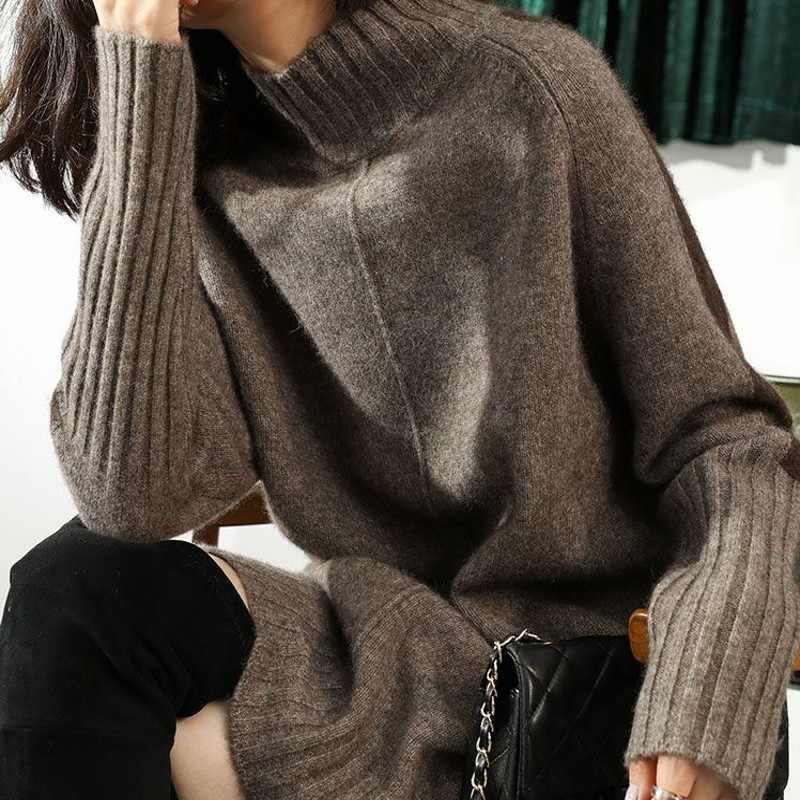ZEHANGSEA high collar long cashmere pullover 19 new beautiful long-sleeved sweater female spring and autumn sweater side slit