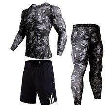 цены Men Thermal Underwear Camouflage Tracksuit MMA Clothing Rashgard kit Bodybuilding Crossfit T-Shirt Gym Jogging suit track suit