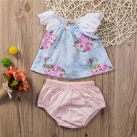 Floral Lace Outfits Bodysuit Two Pieces 2017 Cotton Pink Lace Tie Ruffles Jumpsuit Pants Baby Girl Party Clothing 6