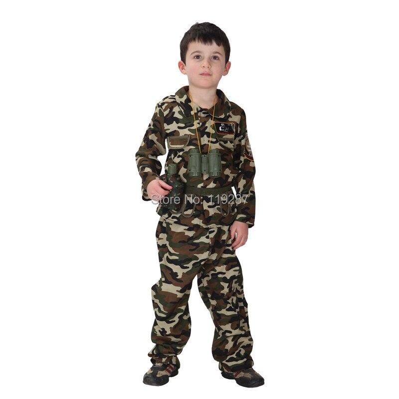 Бесплатная доставка, Детские армейские костюмы для сцены, костюм на Хэллоуин, милое платье солдат спецназа, камуфляжная одежда
