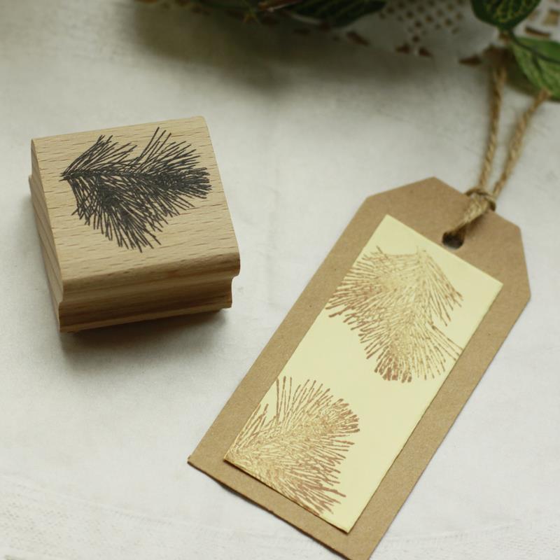 Haute qualité pin feuille conception diy carte postale ou signet scrapbooking timbre ensemble, belle en bois en caoutchouc timbres dans Timbres de Bureau et des Fournitures Scolaires