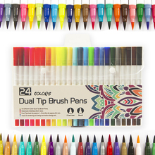 Professional 24 Color Double-Tipped Two Heads Painting Pen Watercolor for Painting, Drawing,Sketching and More