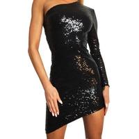 Sexy Sequins Irregular Dress Party Club Wear Slim Dresses Women S One Shoulder Mini Bodycon Dress