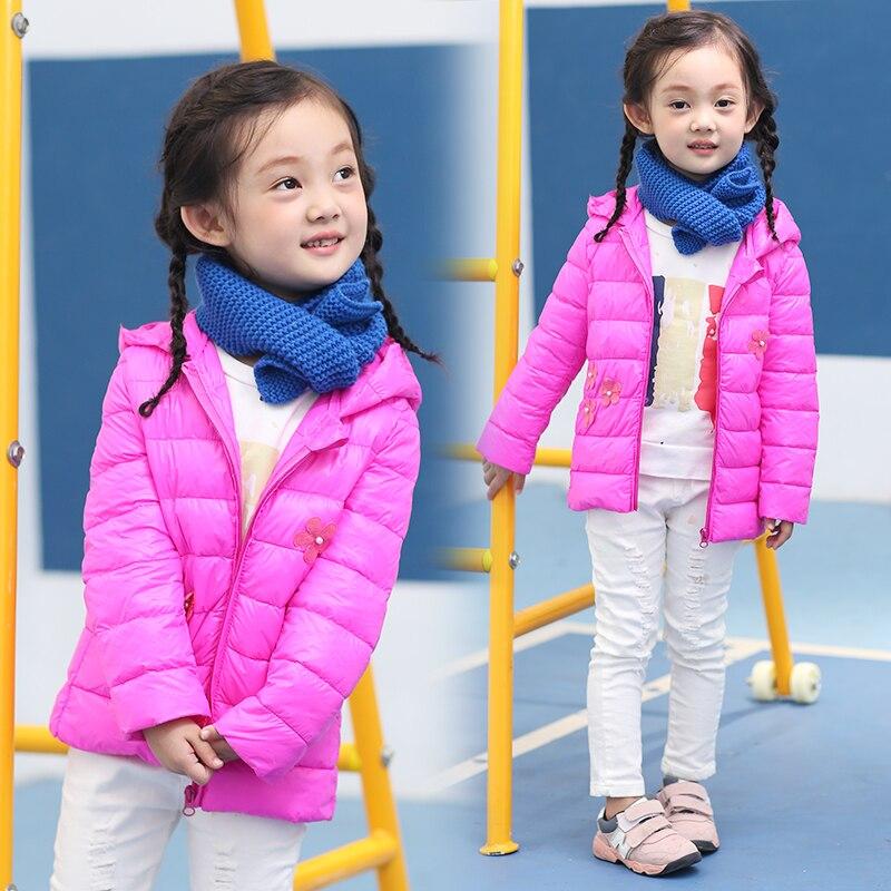 Kış kızlar için 2016 yeni moda çiçek kız ceketler parka mont kalın sıcak kız ördek aşağı ceket çocuk kış ceket kız