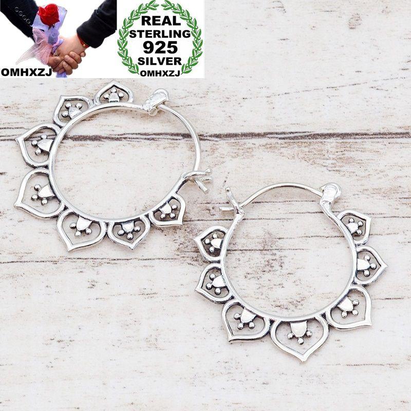 OMHXZJ Wholesale European Fashion Woman Girl Party Wedding Gift Vintage Silver Flower Taiyin  Hoop Earrings EA452
