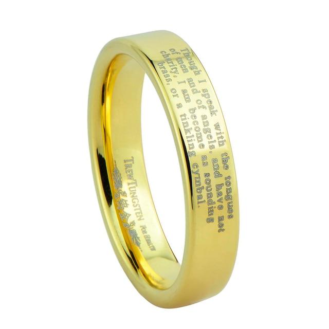Flat Polished Finish Laser Engraved Gold Tungsten Carbide Wedding Rings Width 4mm Turi0006gl Custom