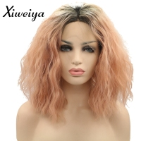 Xiweiya 180% Density Light Pink Ombre Hair Synthetic Lace Front Wig kinky curly Short Hair Heat Resistant short wig for women