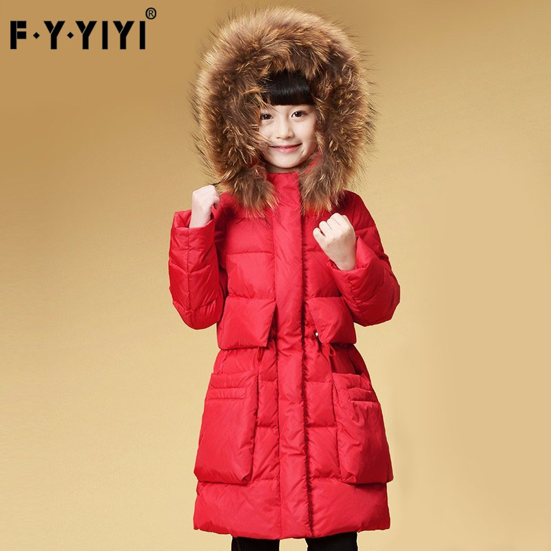Heavy hair of the girls brought down jacket in winter long thickening children big child 90 wool coats down winter jacket for girls thickening long coats big children s clothing 2017 girl s jacket outwear 5 14 year