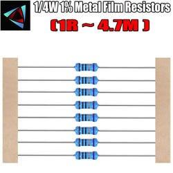 100 шт. 1/4 Вт 1% Металл пленочные резисторы 1R ~ 1 м 100R 220R 330R 1 К 1,5 К 2,2 К 3,3 К 4,7 К 10 К 22 К 47 К 100 К 100 220 330 2K2 3K3 4K7 ом