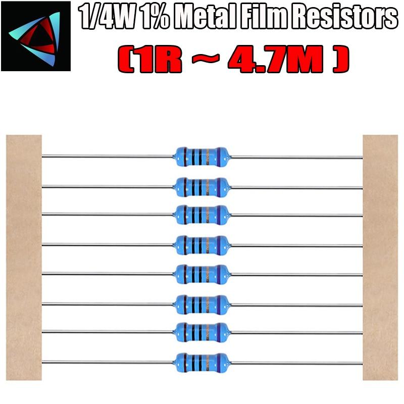 100pcs 1/4W Metal Film Resistor 1R ~ 4.7M 100R 220R 330R 1K 1.5K 2.2K 3.3K 4.7K 10K 22K 47K 100K 100 220 330 1K5 2K2 3K3 4K7 Ohm
