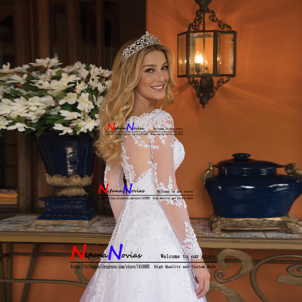Sexy Back Bride Dress Lace Luxury Sheer Tulle Long Sleeve Wedding Dress 2019 Beaded Mariage robe Bridal Gowns vestido de noiva-in Wedding Dresses from Weddings & Events    2
