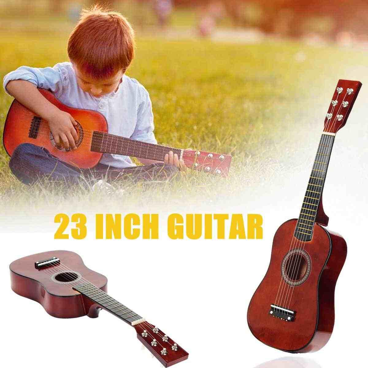 23 дюймов 6 струн липа кофе мини дети концертная акустическая гитара укулеле музыкальный инструмент для детей любителей музыки подарок