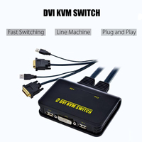 LEORY 2 Port USB 2.0 DVI D KVM Switch Switcher Box with USB Ports Audio Video Cable Dual Monitor Keyboard Mouse Switcher Black